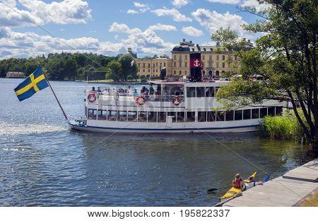 STOCKHOLM - JUlY 13, 2017- Old ferryboat at  Drottningholm palace, Sweden