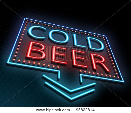3d Illustration depicting an illuminated neon sign with a cold beer concept.