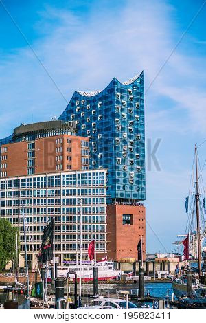 HAMBURG, GERMANY - May 28, 2017: The Elbphilharmonie, concert hall in the port of Hamburg. The tallest inhabited building of Hamburg, with a height of 110 metres.