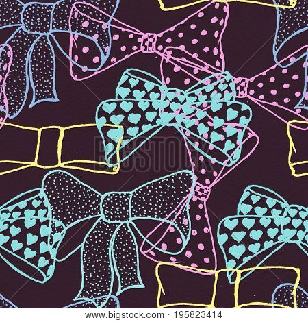 Seamless pattern with hand drawn bows. Fashion illustration