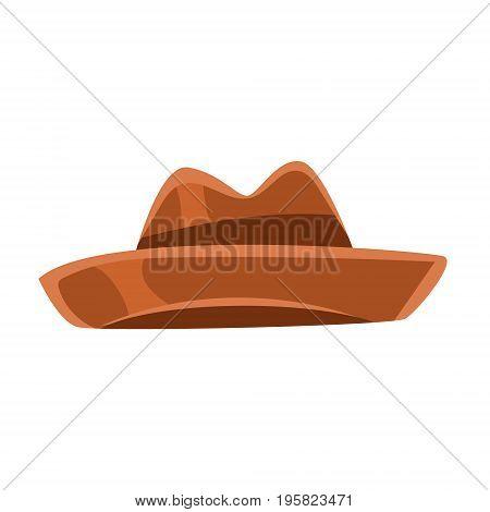 Brown vintage fedora hat vector Illustration on a white background