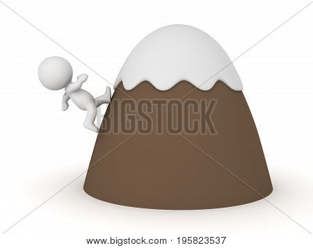 3D Character climbing on top of cartoon mountain. Isolated on white.