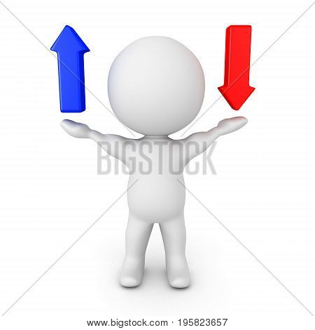 3D Character holding blue up arrow and red down arrow. Isolated on white.