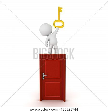 3D Character standing on top of a door and holding a shiny golden key. Isolated on white.