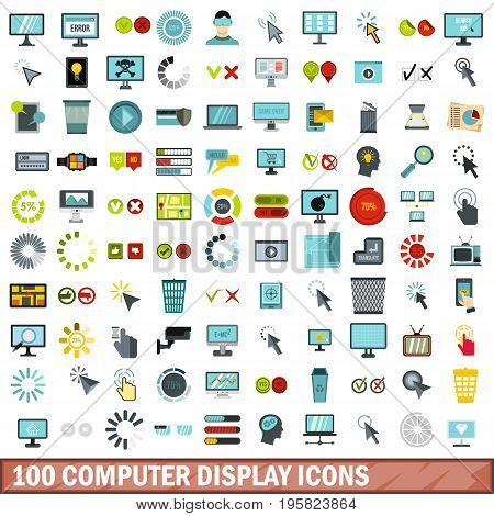 100 computer display icons set in flat style for any design vector illustration