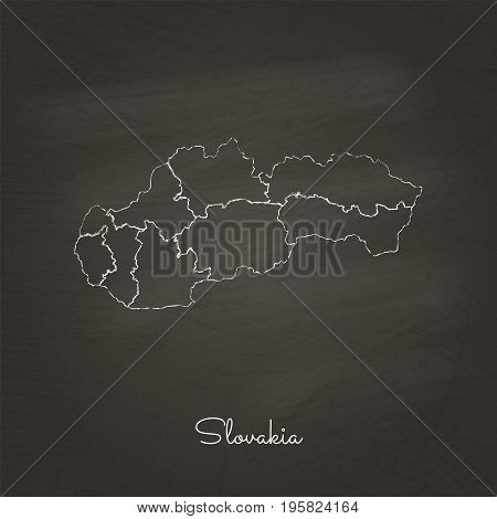 Slovakia Region Map: Hand Drawn With White Chalk On School Blackboard Texture. Detailed Map Of Slova