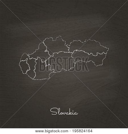 Slovakia Region Map: Hand Drawn With White Chalk On School Blackboard Texture. Detailed Map Of Slova