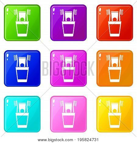 Plastic cup with brushes icons of 9 color set isolated vector illustration