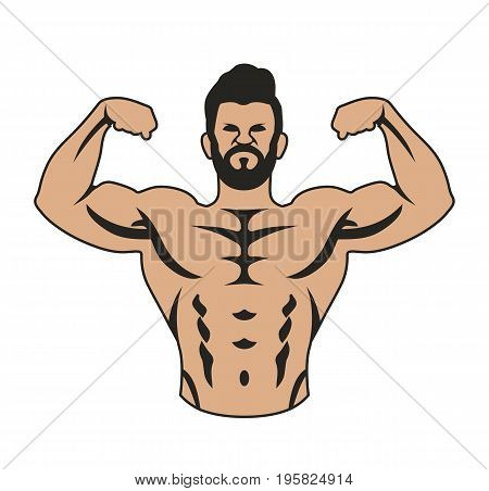 Male bodybuilder, flexing arm muscles. Vector stock.