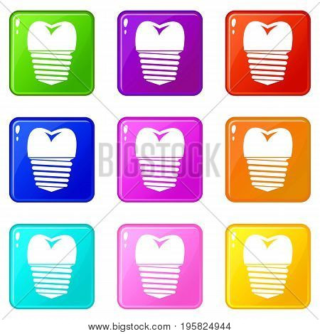 Tooth implant icons of 9 color set isolated vector illustration