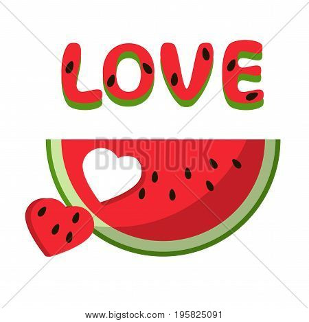 Watermelon red slice summer love heart isolated icon design positive funny flat vector illustration on white background