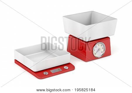 Mechanical and digital kitchen weight scales on white background, 3D illustration