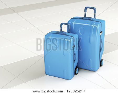 Blue travel bags at the airport, 3D illustration