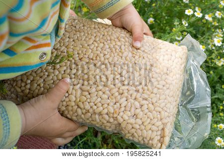 Pack of pine nuts in child's hand