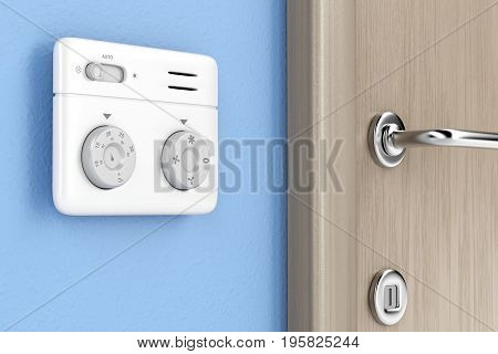 Air conditioner control unit on the wall, 3D illustration