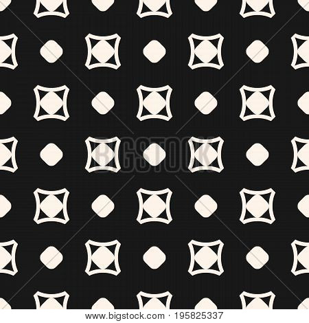 Simple vector seamless pattern, monochrome geometric texture with circles, rounded squares, smooth shapes. Dark abstract background, old style fashion. Design element for prints, covers, textile, web. Vintage pattern. Retro pattern.