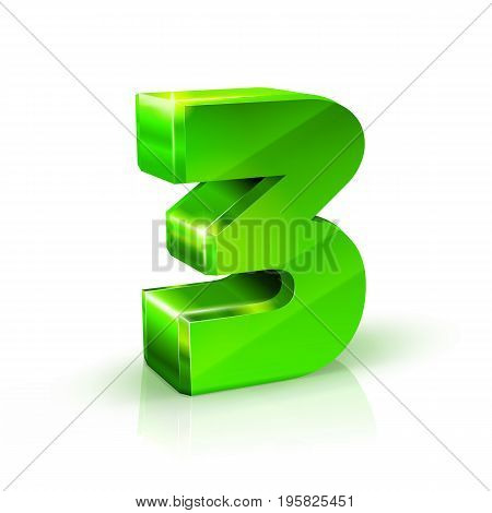 Glossy green Three 3 number. 3d Illustration on white background. Vector