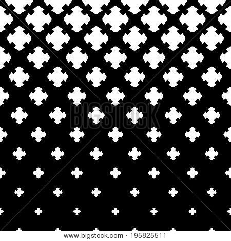Vector halftone texture, monochrome abstract pattern. Gradient transition effect from black to white. Halftone texture. X pattern. Falling geometric shapes, carved crosses. Dark design for prints, covers, decor, digital, fabric. Cross pattern.