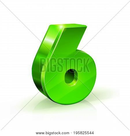 Glossy green Six 6 number. 3d Illustration on white background. Vector
