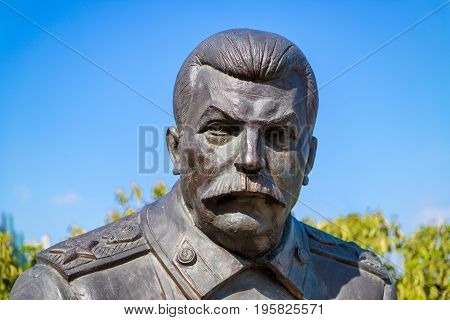 Livadia Russia - May 17, 2016: Statue of soviet leader Stalin by Zurab Tsereteli in the Livadia Palace, Crimea. The famous Yalta Conference was held there in 1945.