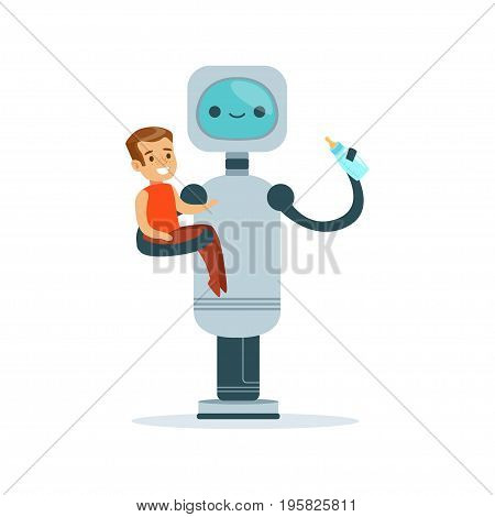 Housemaid baby sitter robot with child vector Illustration isolated on a white background
