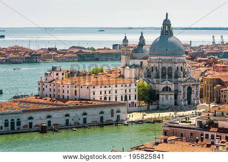 Aerial view od Venice, Italy. Basilica di Santa Maria della Salute Grand Canal and lagoon.