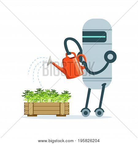 Housemaid robot character with watering can feeding plants vector Illustration isolated on a white background
