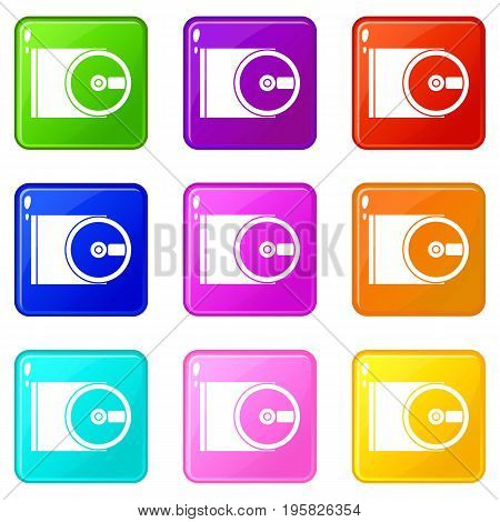 DVD drive open icons of 9 color set isolated vector illustration