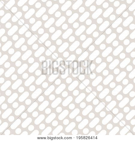 Vector seamless pattern with diagonal rounded lines and circles. Simple geometric texture in light pastel colors beige and white. Stylish abstract background. Design pattern, textile pattern, covers pattern, decor pattern, fabric pattern.