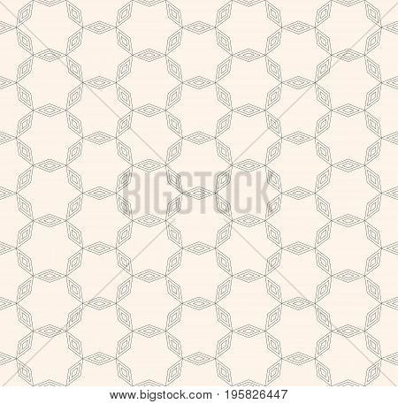 Star pattern. Subtle geometric pattern, vector seamless texture with thin linear lattice. Delicate ornamental abstract background, repeat tiles. Geometric pattern. Minimalist design element for prints, decoration, textile, furniture.