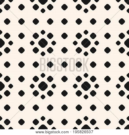 Dotted seamless pattern, vector monochrome polka dot texture with different sized circles, stippling floral shapes. Dot pattern. Abstract geometric background, repeat tiles. Design for prints, decor, fabric, cloth. Seamless pattern with dots. Polka dot pa
