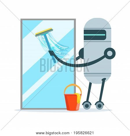 Housemaid robot character cleaning glass window with a squeegee and bucket vector Illustration isolated on a white background