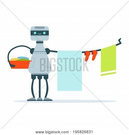 Housemaid android character hanging out laundry clothes vector Illustration isolated on a white background