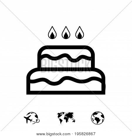 cake with candles icon stock vector illustration flat design
