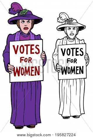 Suffragette With A Sign, votes for women