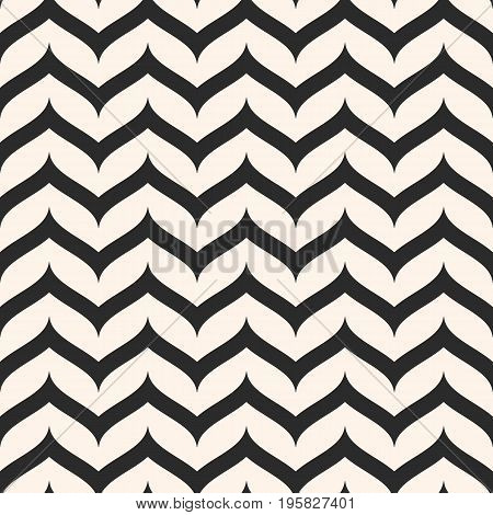 Zig zag pattern. Vector seamless pattern, curly horizontal zig zag lines. Simple wavy stripes. Zigzag monochrome texture. Abstract repeat background. Chevron pattern. Herringbone pattern. Design for prints, decor, package, textile, fabric, linens, cloth.