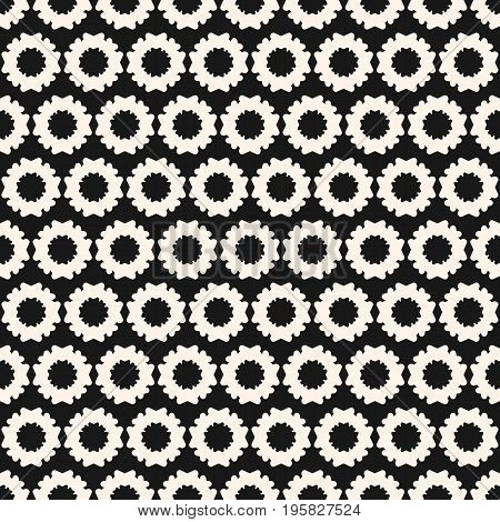 Simple floral geometric seamless pattern. Monochrome texture with flower silhouettes. Flower pattern. Abstract contrast repeat background. Floral pattern. Design element for prints, decor, textile, fabric, cloth, covers, digital. Floral background. Floral