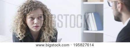 Woman Crying During Psychotherapy