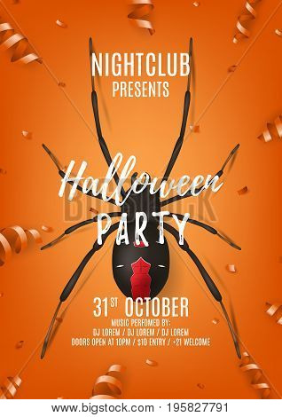 Halloween party poster with black spider. Top view on composition with confetti and serpentine on orange background. Vector illustration. Invitation to nightclub.