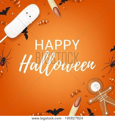 Halloween background with sweets. Top view on spiders, paper bats and confetti on orange backdrop. Vector illustration with cookies in form of skeleton gingerbread man. Cream cake in form of mummy.