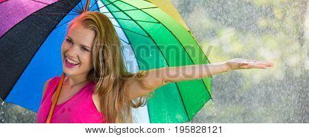 Woman Checking If It Is Still Raining