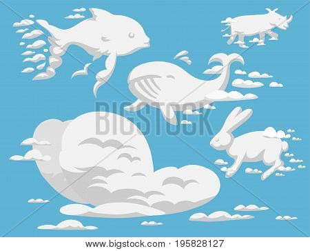 Animal clouds silhouette pattern vector illustration. Abstract sky art cartoon environment natural ornament adorable bright fluffy mammal.