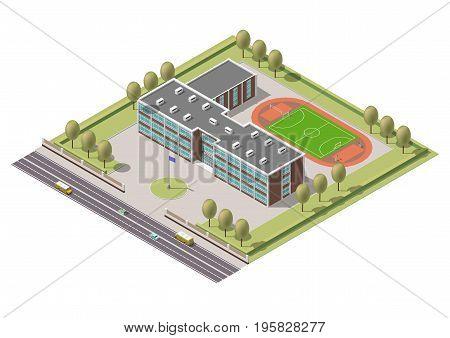 Vector isometric infographic element or university building. Flat illustration