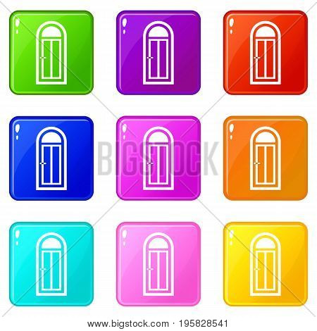 Arched wooden door with glass icons of 9 color set isolated vector illustration