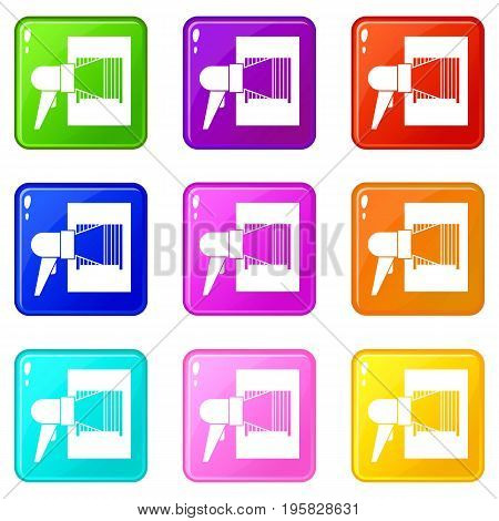 Bar code on cargo icons of 9 color set isolated vector illustration
