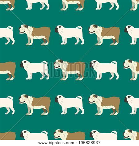 Funny cartoon bulldog dog character bread seamless pattern happy puppy friendly mammal vector illustration. Domestic element flat comic adorable mascot canine.