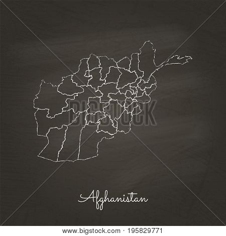 Afghanistan Region Map: Hand Drawn With White Chalk On School Blackboard Texture. Detailed Map Of Af