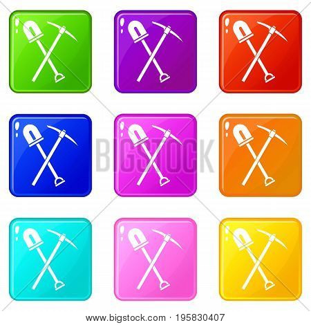 Shovel and pickaxe icons of 9 color set isolated vector illustration