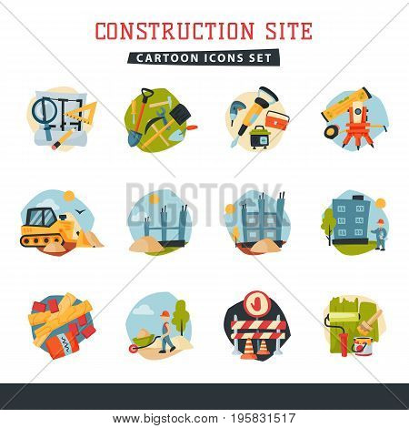 Under construction building developer website icons set collection aerial industry equipment architecture crane business development vector. House making industrial city machinery housing.