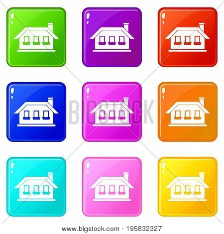 One-storey house with three windows icons of 9 color set isolated vector illustration